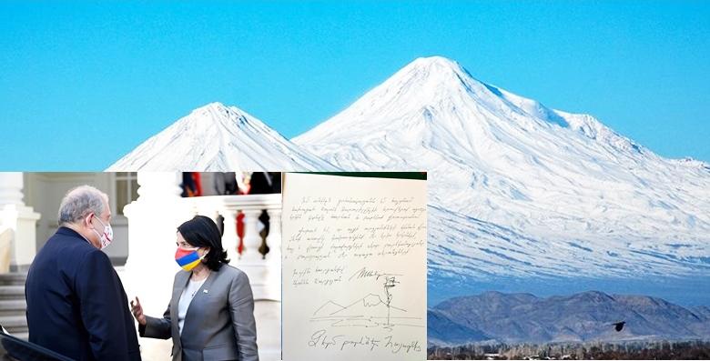 Sarkisyan di serdana Gurcistanê de bi xêzê Çiyayê Agirî wekî erda Ermenistanê nîşan da