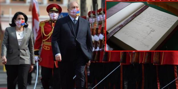 Ermenistan Cumhurbaşkanı, şeref defterine Ağrı Dağı'nı çizdi!