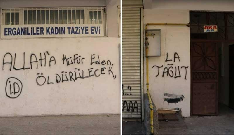 Kobani Davası öncesi Diyarbakır sokaklarında 'IŞİD imzalı' yazılar!