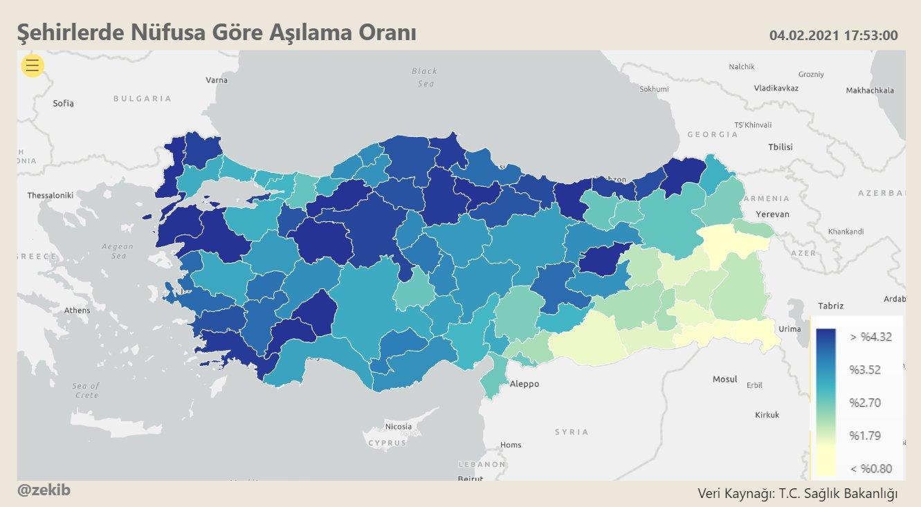 Aşıda tablo: Nüfusa oranla en az aşılanan 10 ilin tamamı Kürt kentleri!
