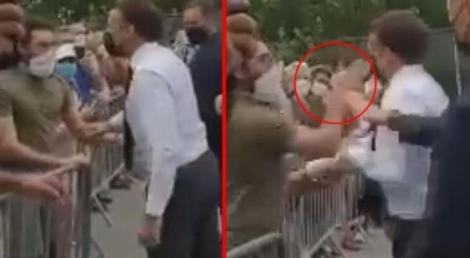 VİDEO  Emmanuel Macron'a tokatlı saldırı!