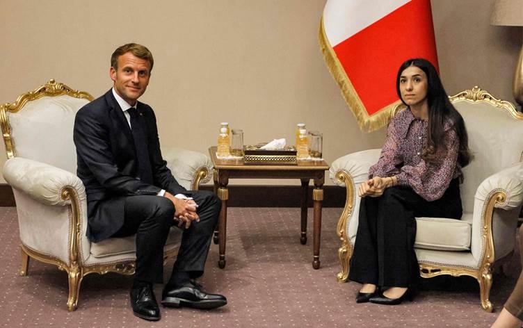 Macron'dan Nadia Murad'a: Mücadeleyi birlikte yürüteceğiz!