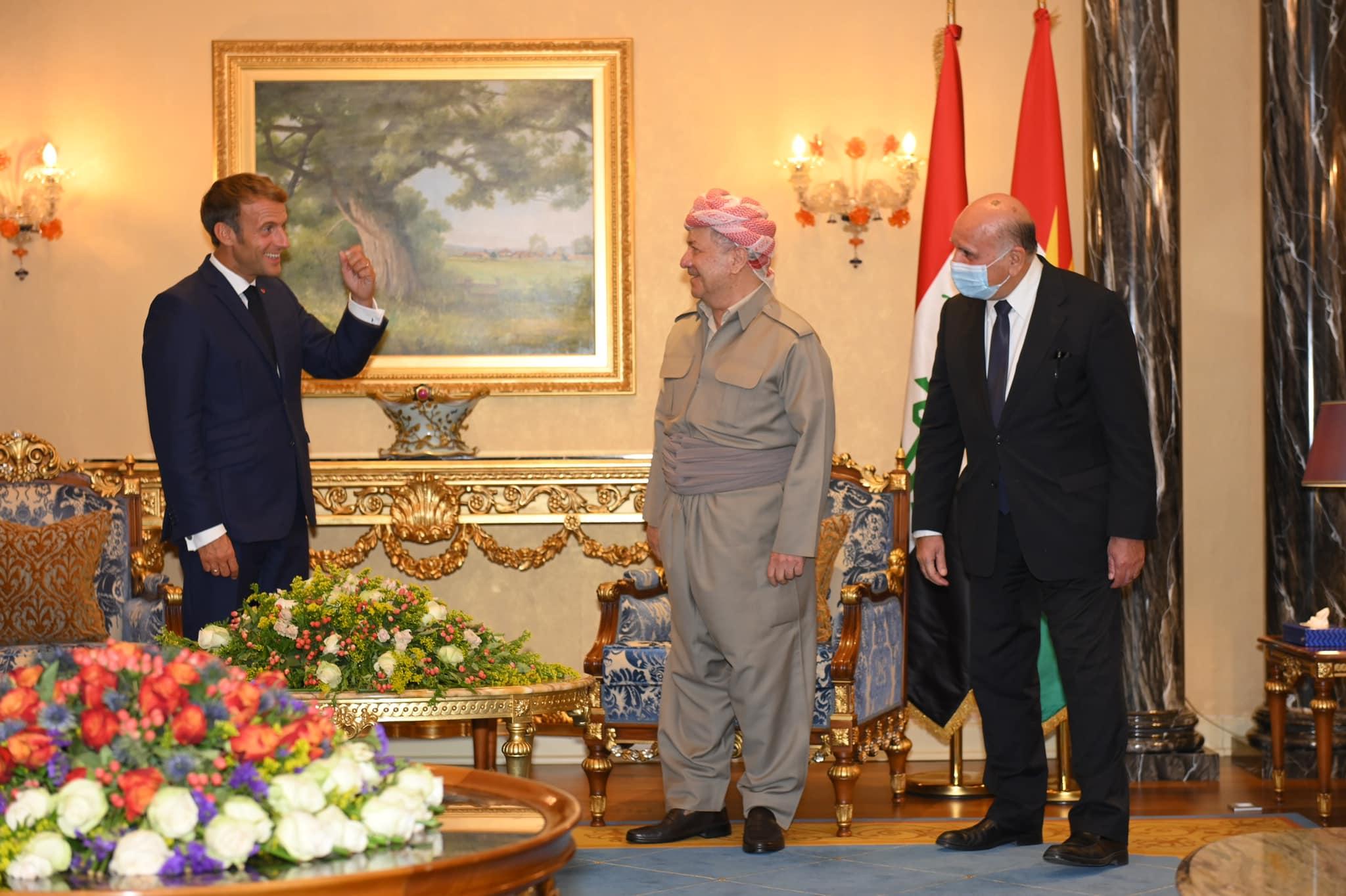 Macron, Erbil'de Başkan Barzani ile bir araya geldi!